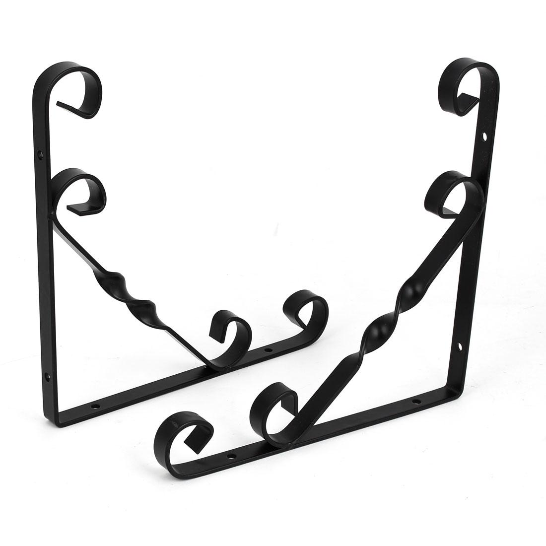 Home Shop Wall Mounted Metal L Shaped Shelf Bracket Support Holder Black 200x200mm 2pcs