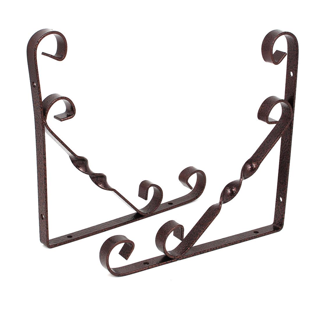 Home Shop Wall Mounted Metal L Shaped Support Shelf Bracket Copper Tone 200x200mm 2pcs
