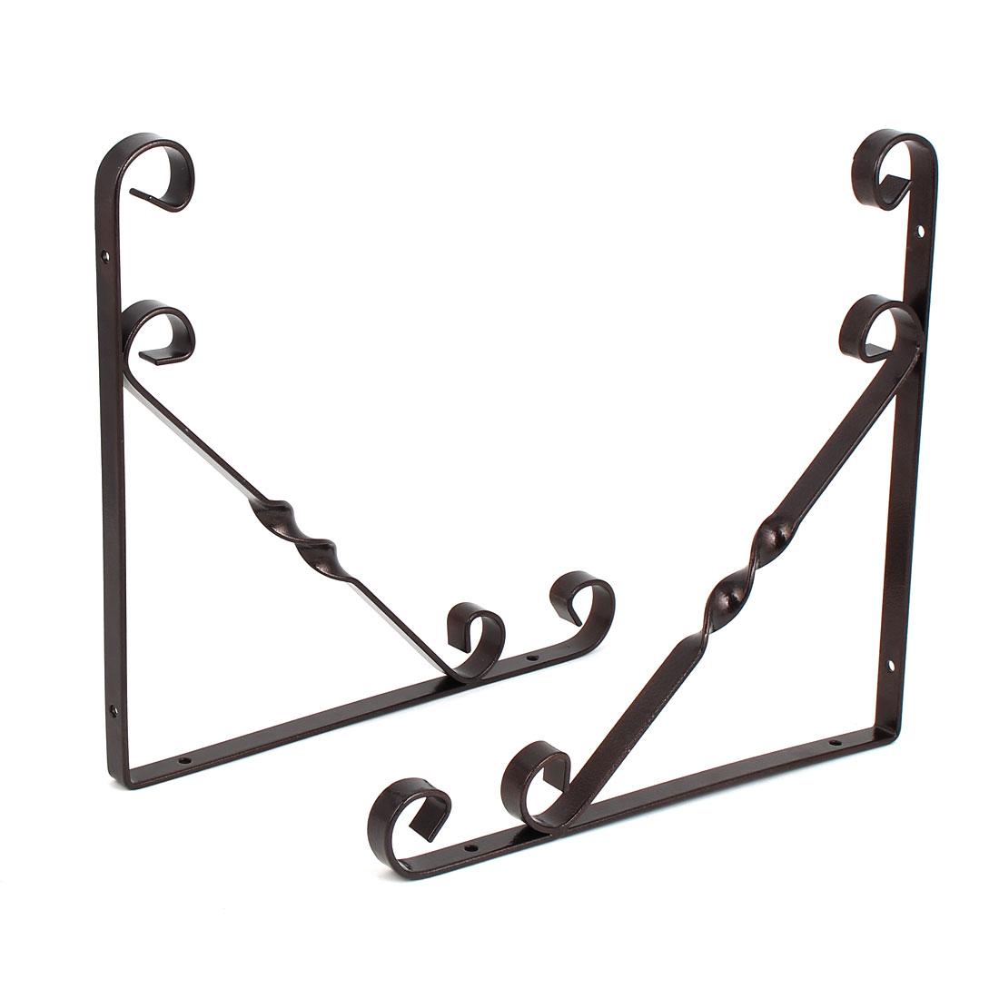 Home Shop Wall Mounted Metal L Shaped Support Shelf Bracket Copper Tone 250x250mm 2pcs