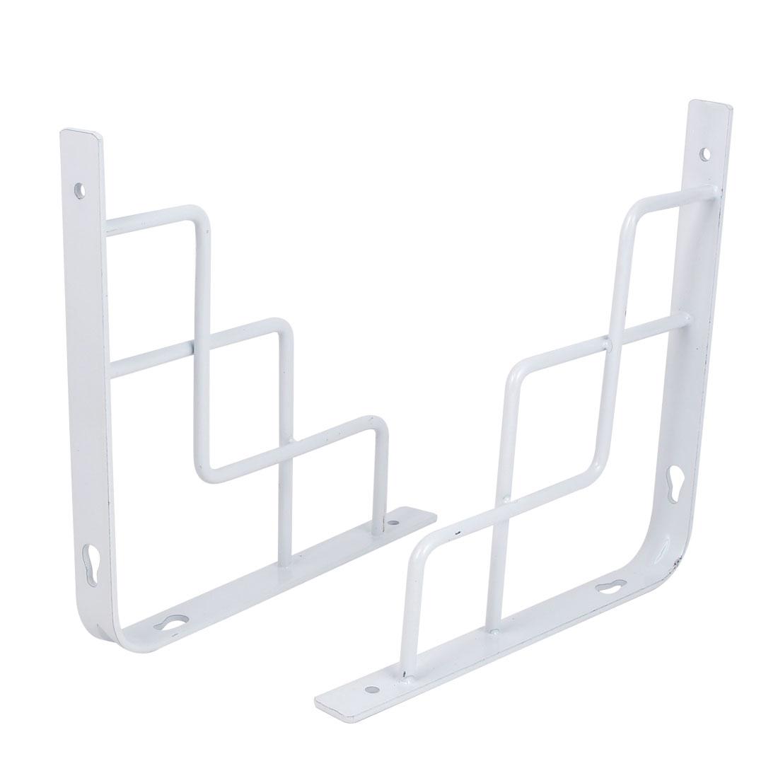 Home Store Wall Mounted Metal L Shaped Shelf Bracket White 200x200mm 2pcs