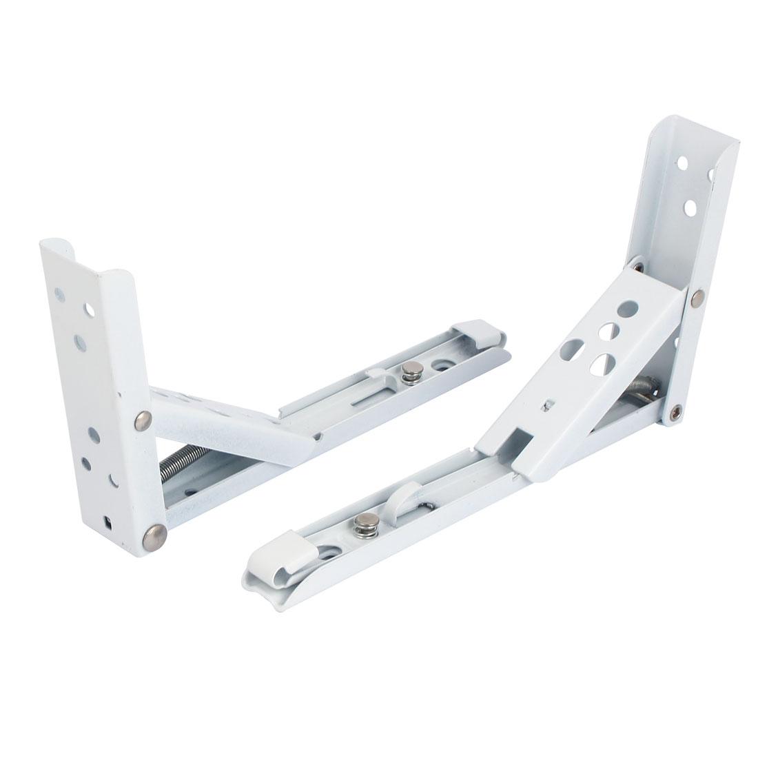 195mm x 110mm Folding Spring Wall Mounted Shelf Bracket Brace Support 2pcs