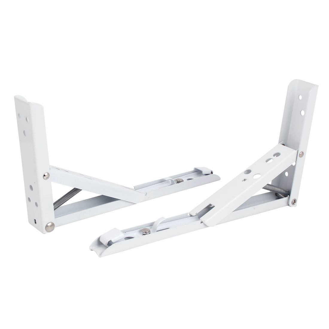Wall Mounted Metal L Shaped Spring Loaded Folding Support Shelf Bracket White 240mm Length 2pcs