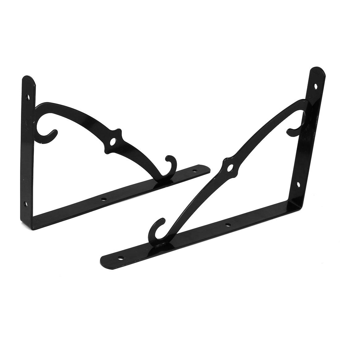 300mm x 193mm 90 degree Wall Mounted Shelf Bracket Brace Support Black 2pcs