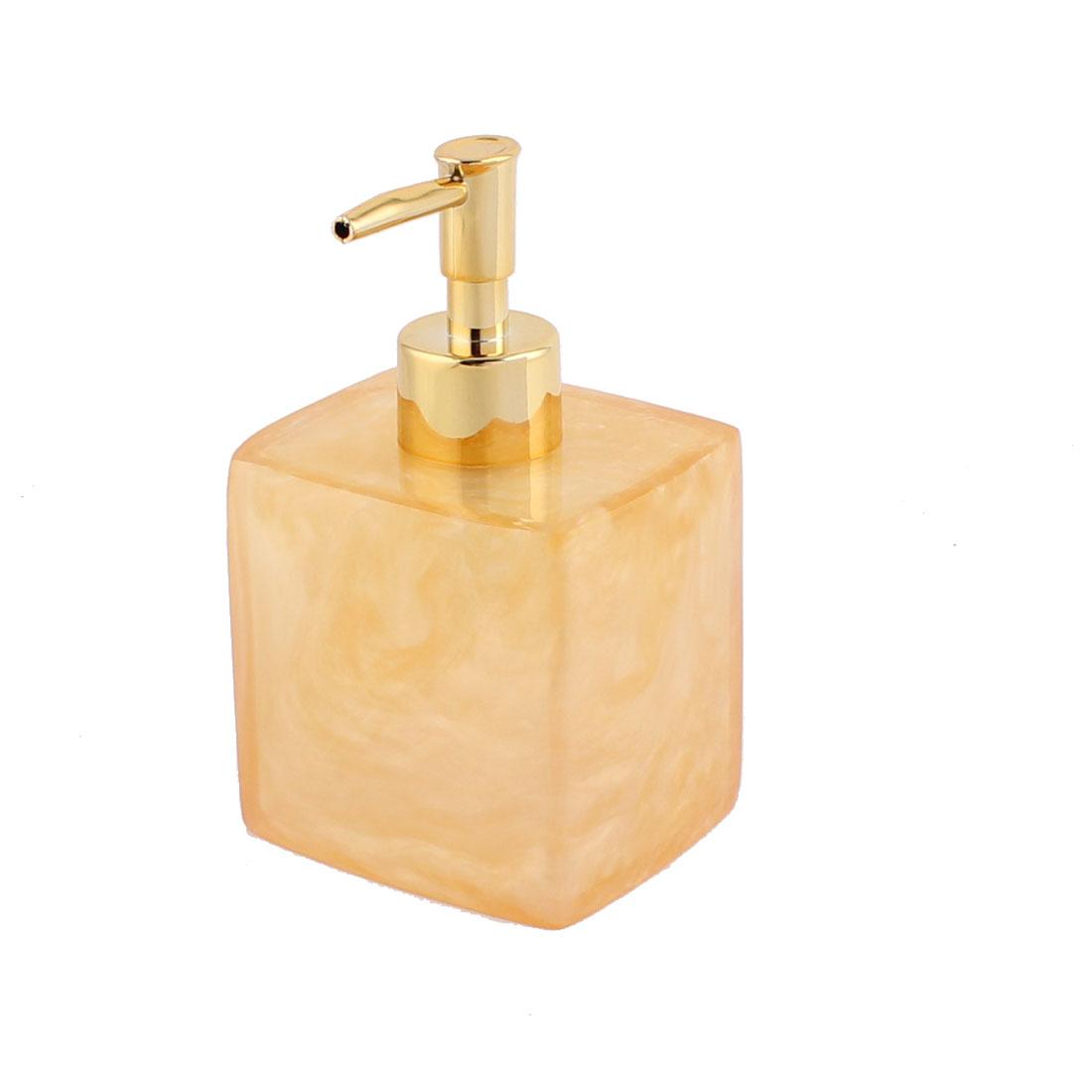 Bathroom Resin Shampoo Lotion Press Pump Bottle Dispenser Clear Yellow 400ml