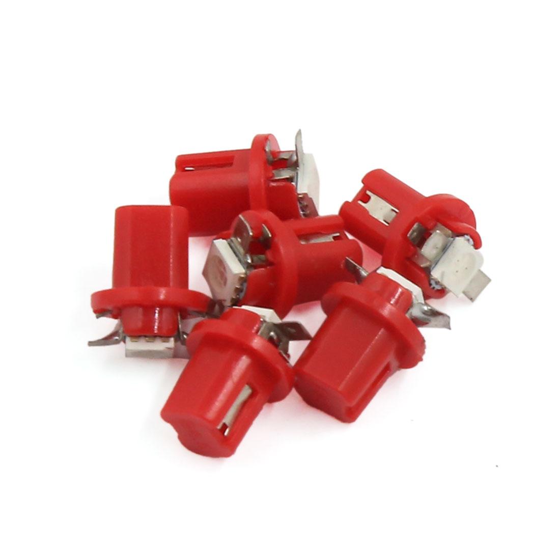 6pcs B8.5D Red 5050 LED 1 SMD Lamp Car Gauge Dash Bulb Dashboard Light Interior