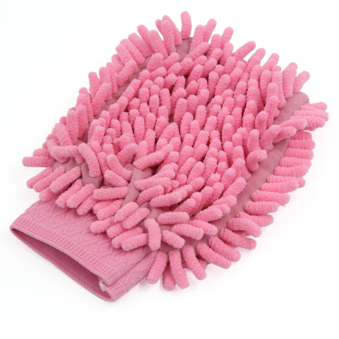 Vehicle Car Sigle Side Soft Microfiber Chenille Glove Wash Detailing Mitten Pink