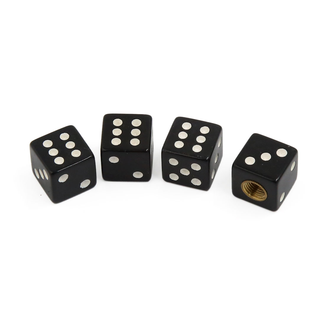 4pcs Black Dice Shape Universal Bike Car Truck Wheel Rim Tire Air Valve Stem Cap