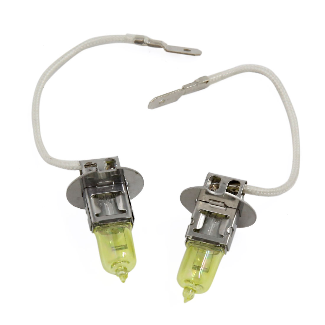 2 Pcs H3 50W Amber Halogen Light Xenon Gas Car Headlight Fog Lamp Bulbs 12V