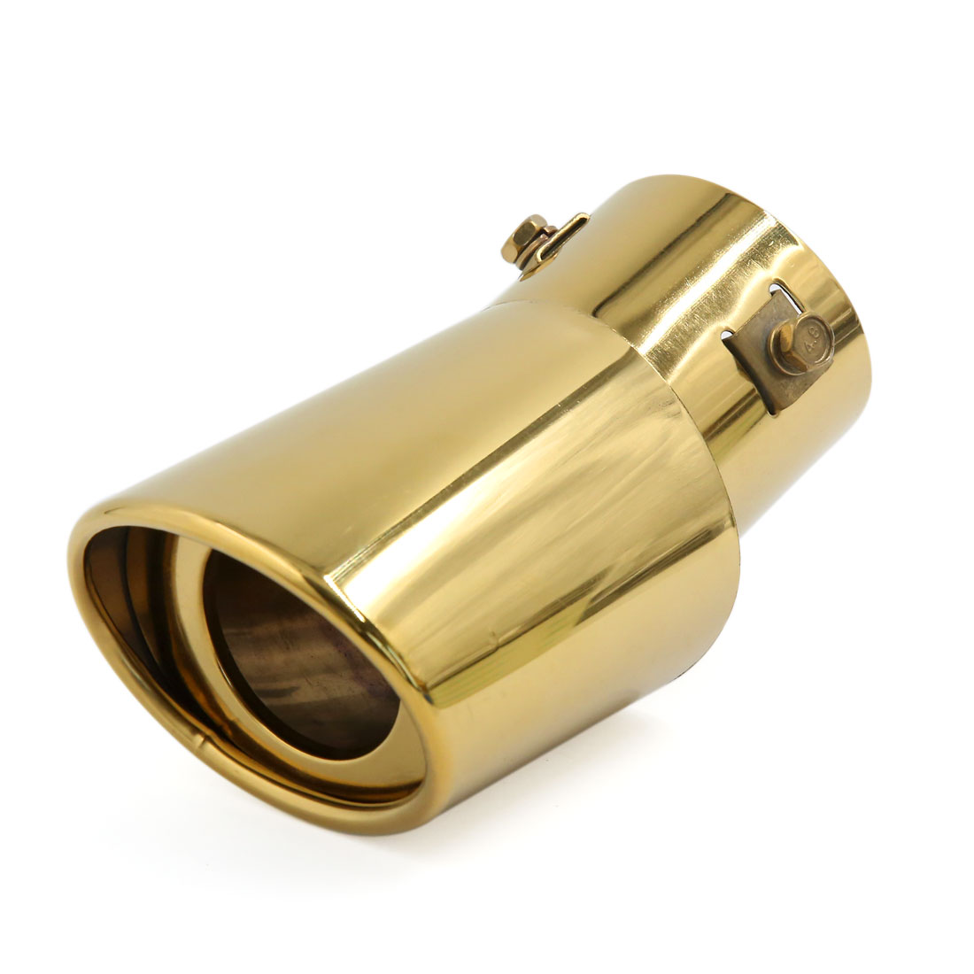 "Bent Angle Gold Tone Stainless Steel Car Rear Exhaust Pipe Tail Muffler Tip 2.4"" Inlet Diameter"