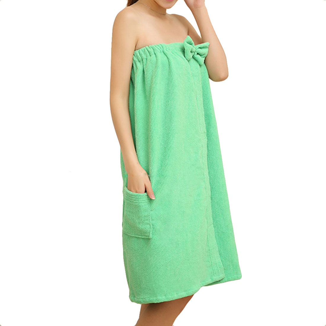 Lady Microfiber Elastic Bowknot Beach Swimming Shower Bath Towel Wrap Skirt Washcloth Green