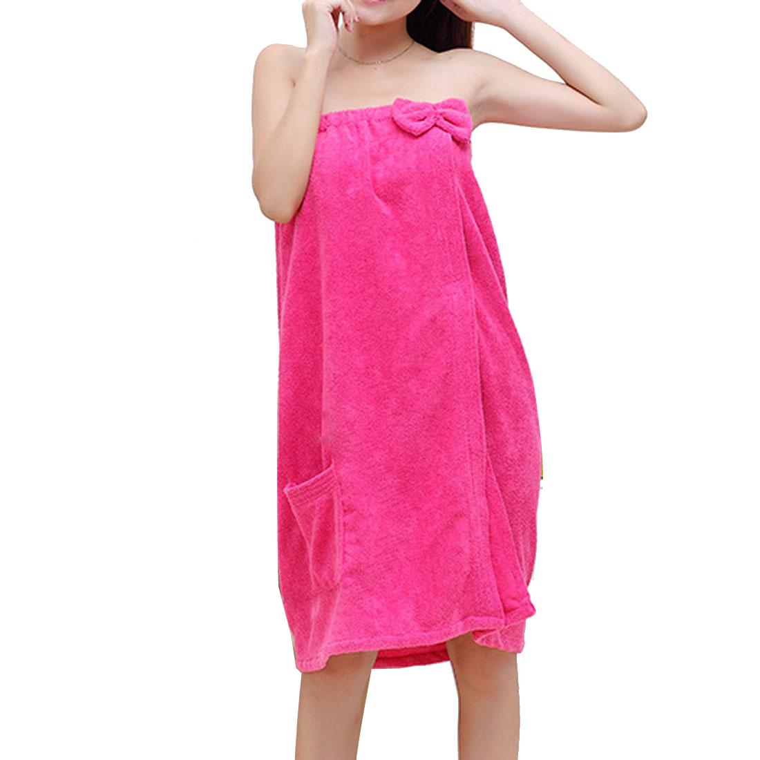 Lady Microfiber Elastic Bowknot Beach Swimming Shower Bath Towel Wrap Skirt Washcloth Fuchsia