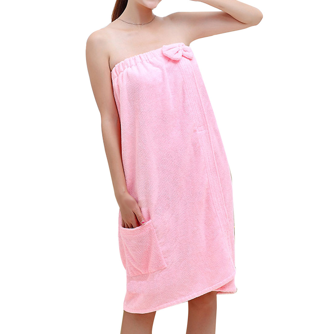 Lady Microfiber Elastic Bowknot Beach Swimming Shower Bath Towel Wrap Skirt Washcloth Pink
