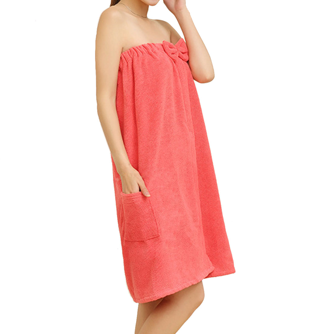 Lady Microfiber Elastic Bowknot Beach Swimming Shower Bath Towel Wrap Skirt Washcloth Coral Pink
