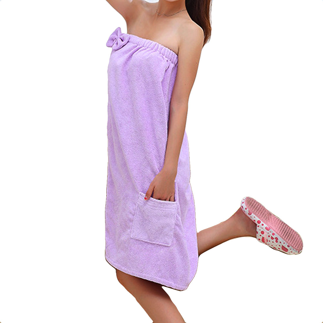 Lady Microfiber Elastic Bowknot Beach Swimming Shower Bath Towel Wrap Skirt Washcloth Purple