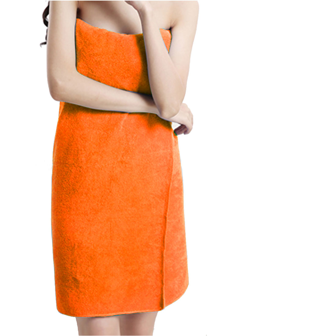 Lady Microfiber Elastic Bowknot Beach Swimming Shower Bath Towel Wrap Skirt Washcloth Orange