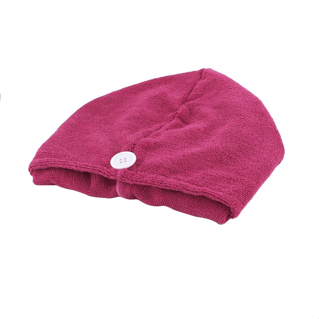 Lady Microfiber Triangle Shower Bathing Bath Hair Drying Dry Cap Hat Towel Magenta