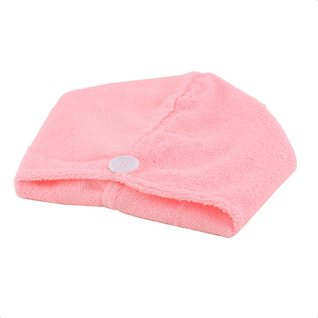 Lady Microfiber Triangle Shower Bathing Bath Hair Drying Dry Cap Hat Towel Pink
