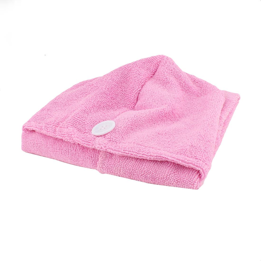 Lady Microfiber Triangle Shower Bathing Bath Hair Drying Dry Cap Hat Towel Pastel Pink