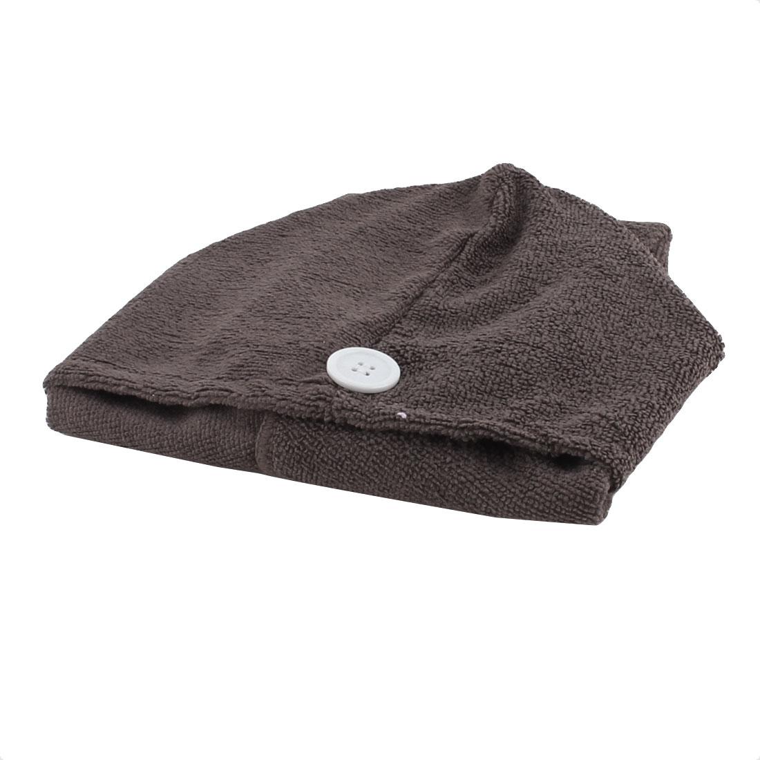 Lady Microfiber Triangle Shower Bathing Bath Hair Drying Dry Cap Hat Towel Coffee Color