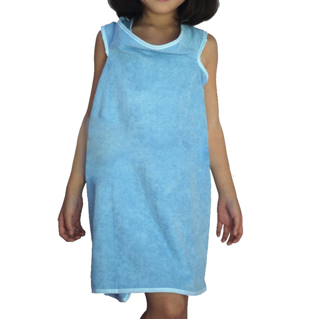 Girl Microfiber Spa Beach Swimming Shower Bath Towel Wrap Skirt Washcloth Blue