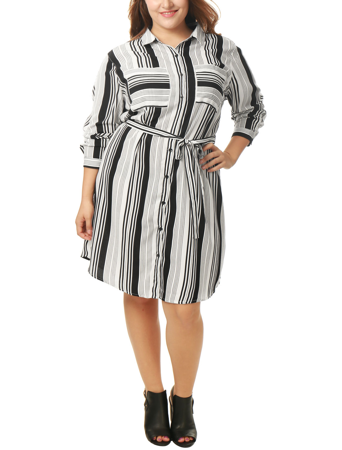 Women Plus Size Striped Tie Waist Long Sleeves Shirt Dress Black White 1X