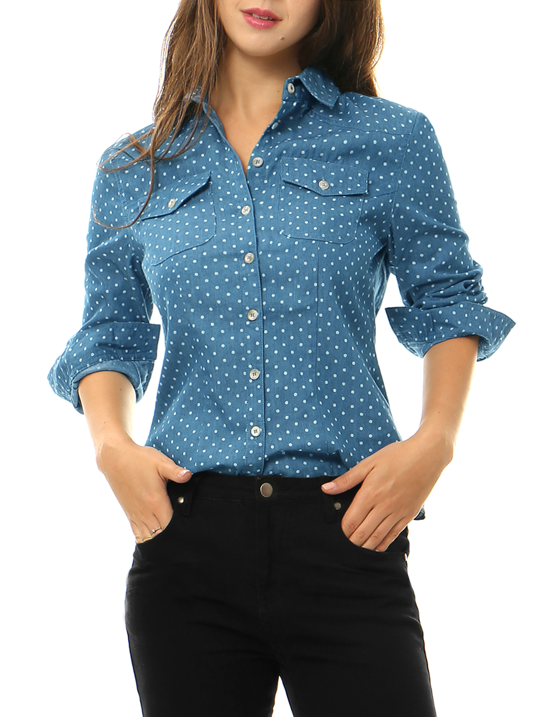 Women Dots Point Collar Chest Pockets Denim Shirt Blue XS