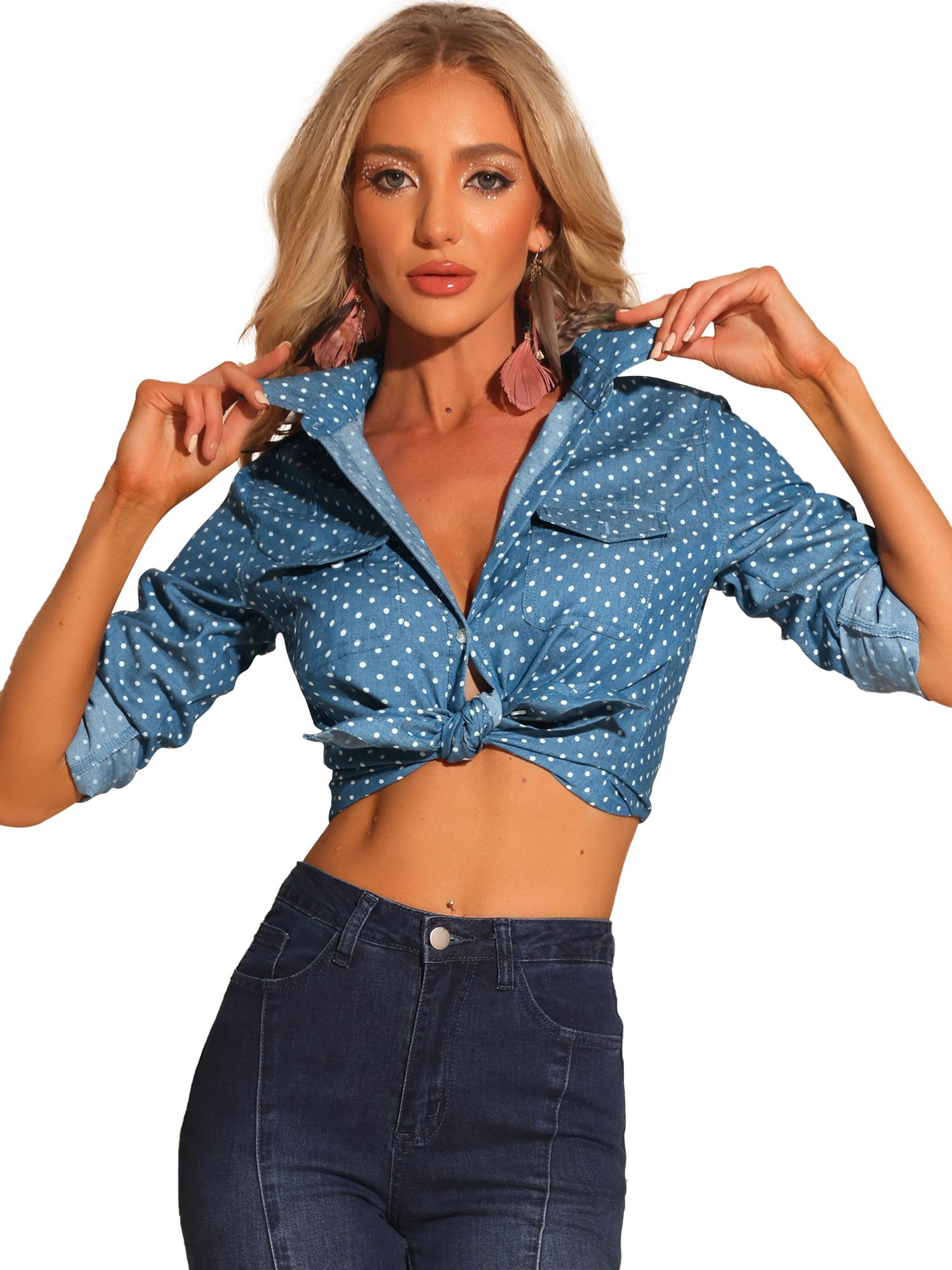 Women Dots Point Collar Chest Pockets Button Down Shirt Blue S