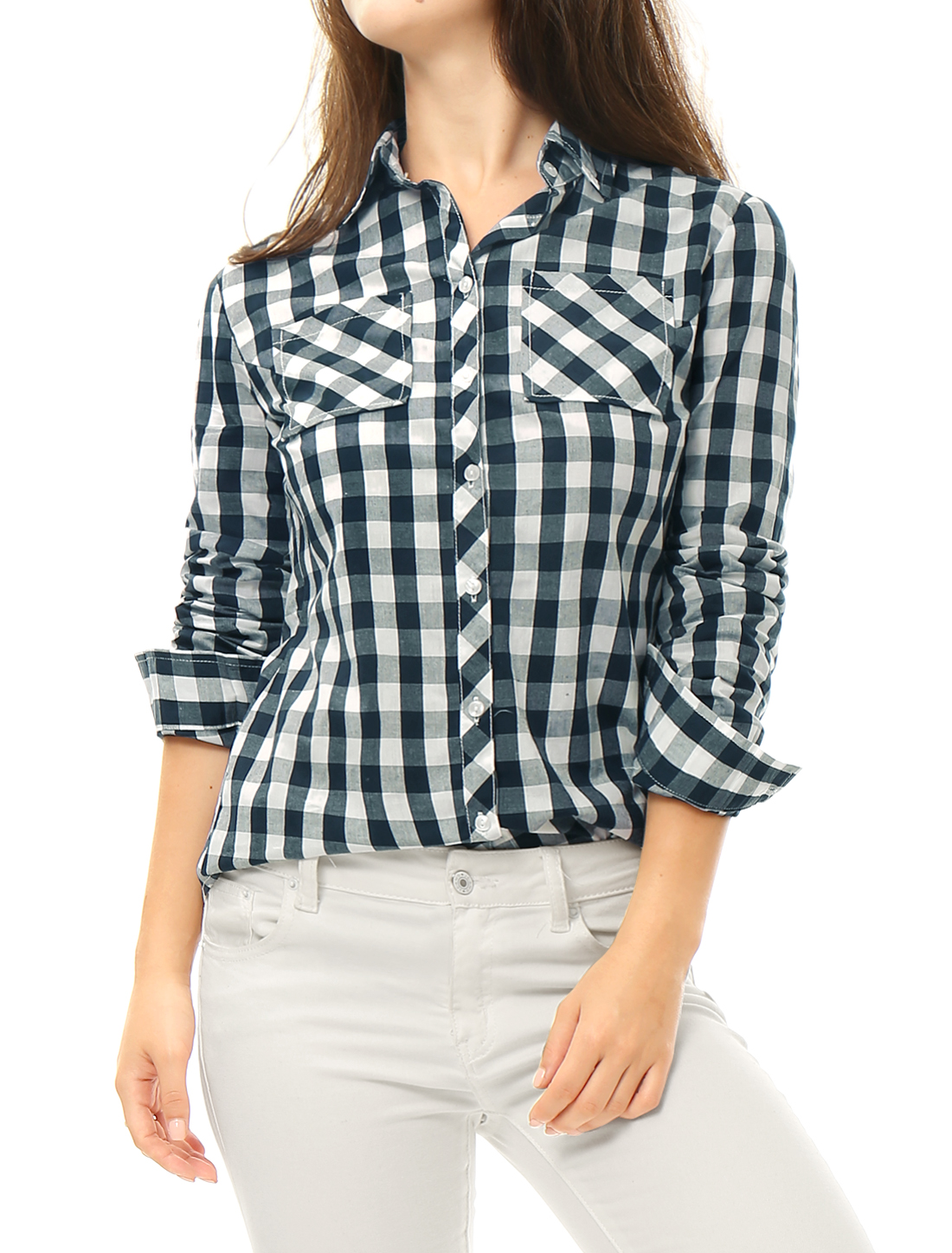 Women Bust Pockets Button Up Cotton Plaids Shirt Blue L