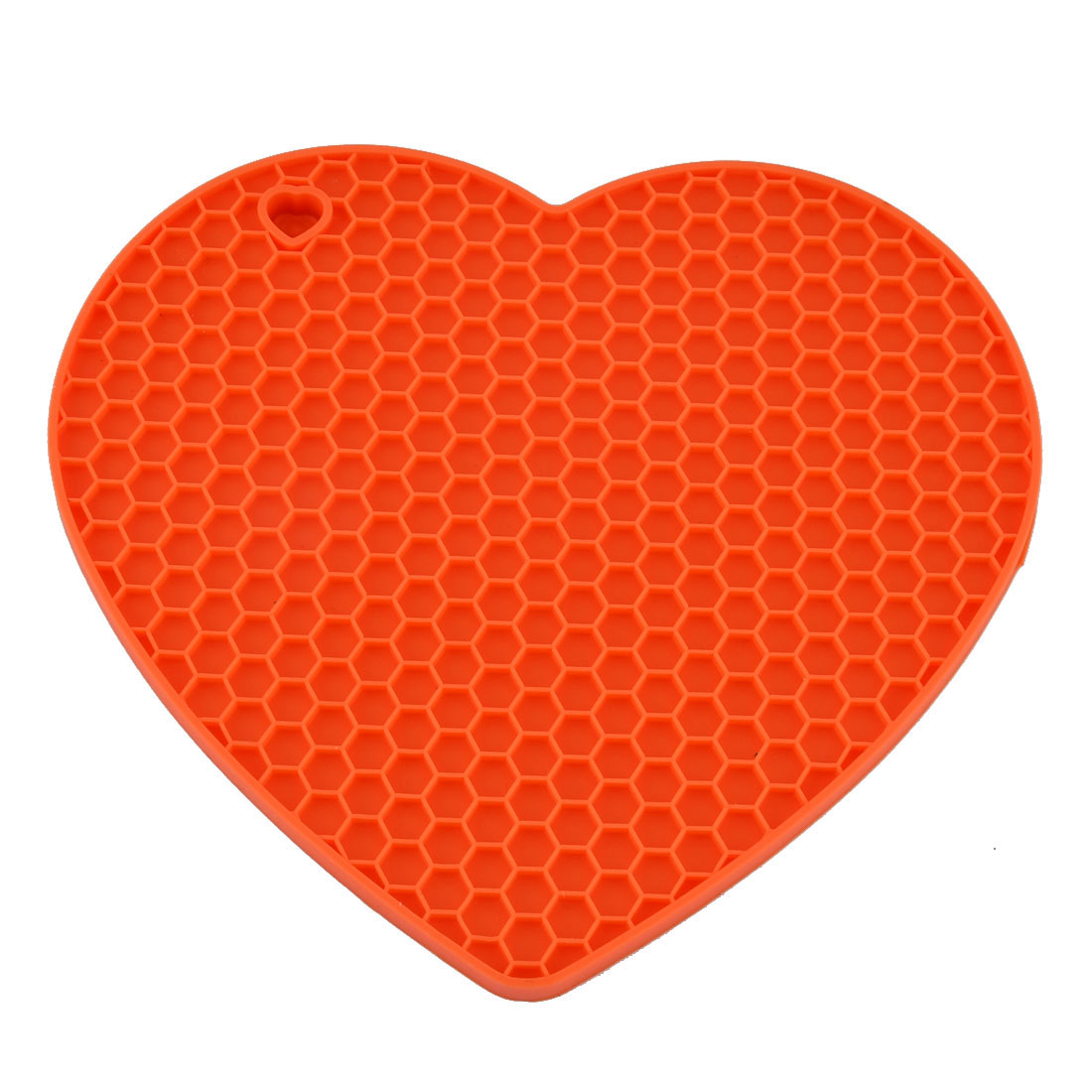 Silicone Heart Shaped Honeycomb Pattern Heat Insulation Pot Holder Pad Orange