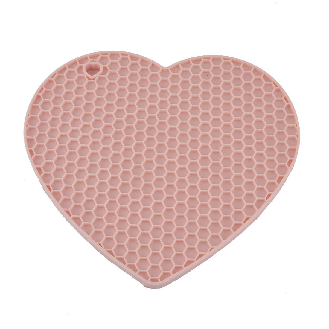 Silicone Heart Shaped Honeycomb Pattern Heat Resistant Tableware Mat Pot Pad Pink