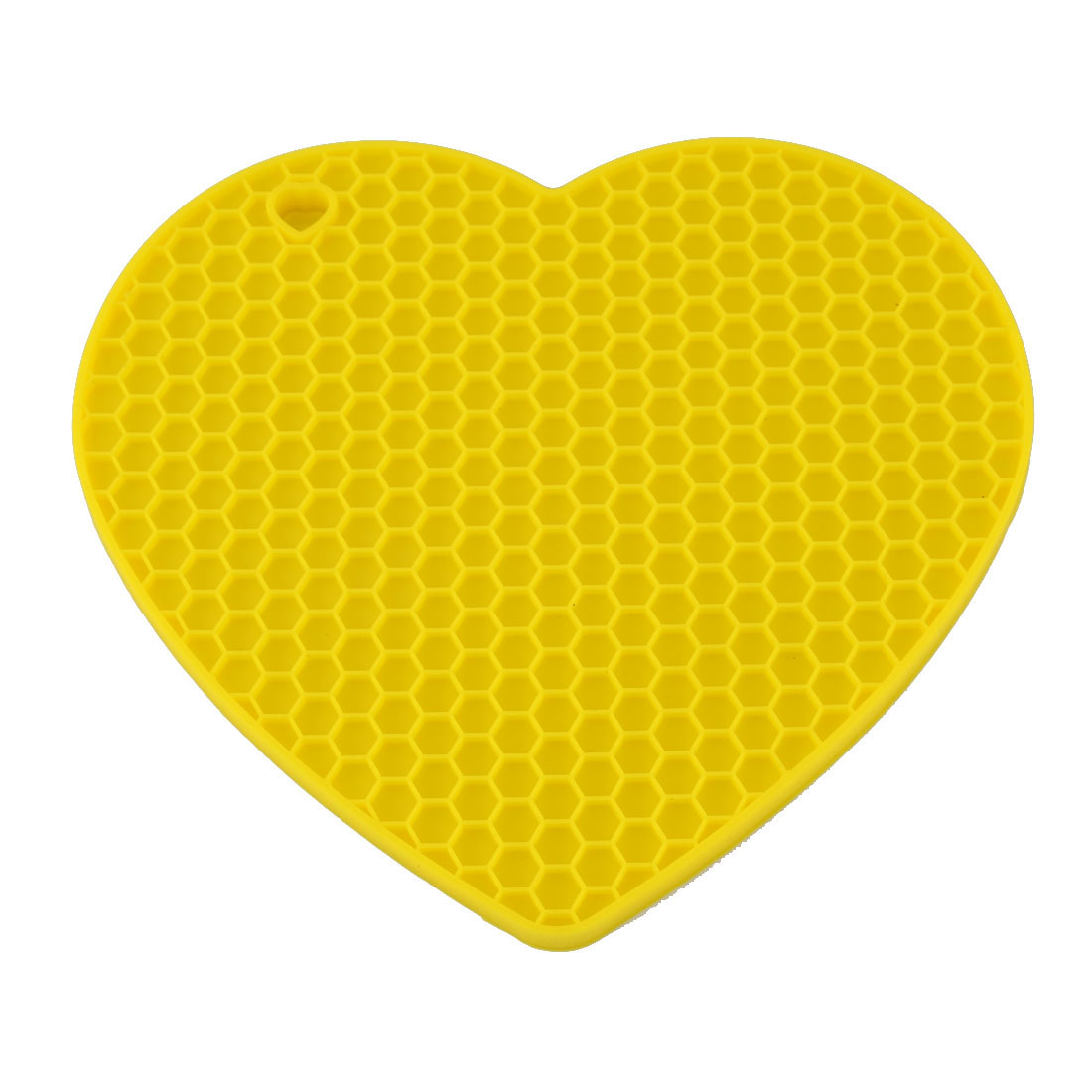 Silicone Heart Shaped Honeycomb Pattern Heat Insulation Pot Table Mat Pad Yellow