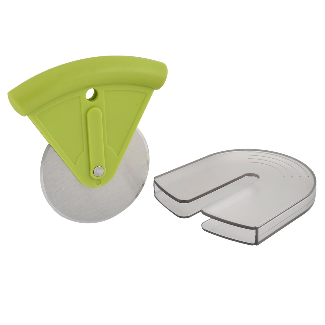 Stainless Steel Battercake Dividing Tool Pizza Cutter Green Silver Tone