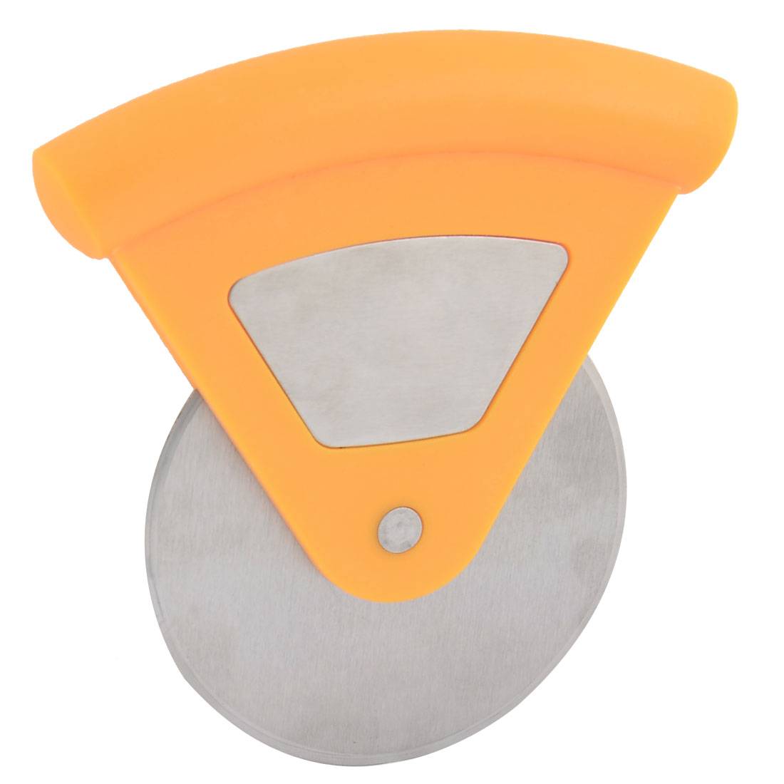 Household Stainless Steel Wheel Pizza Cutter Tool Orange Silver Tone 7.5cm Dia