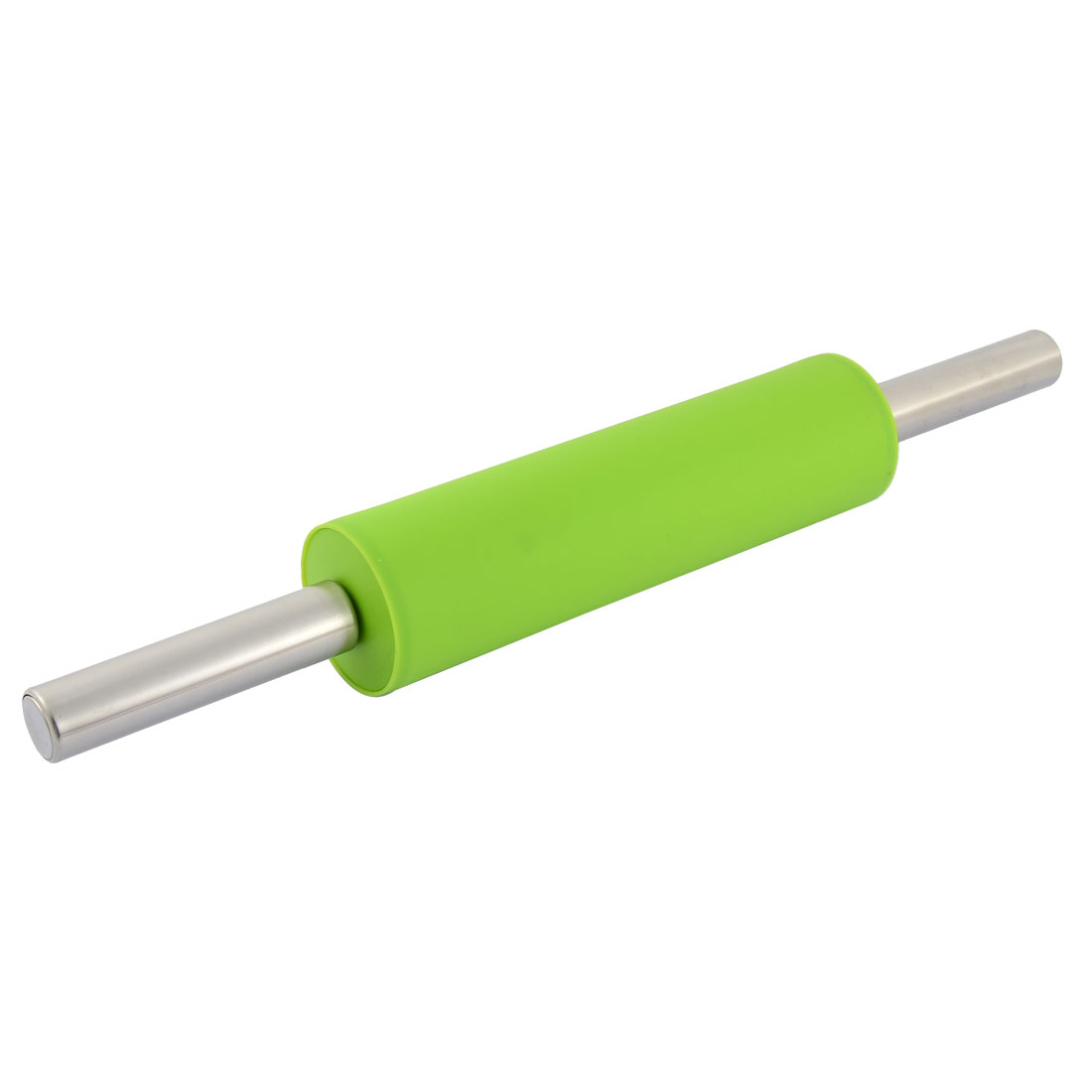 Silicone Surface Kitchen Dough Roller Rolling Pin Green Silver Tone 40cm Length