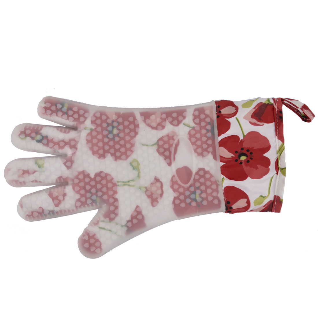 Silicone 5-Finger Flower Pattern Camping BBQ Heat Resistant Oven Mitt Glove