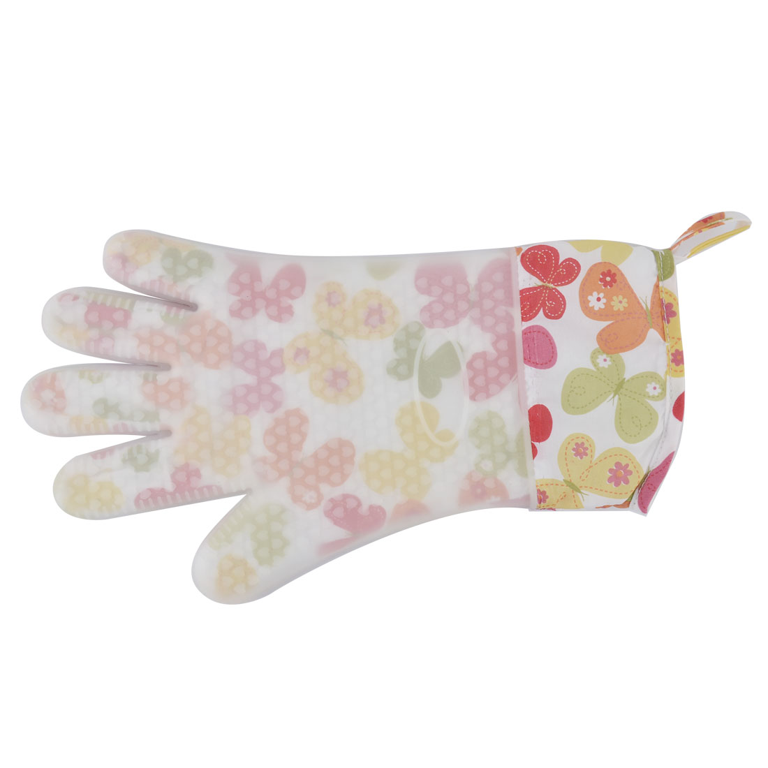 Household Silicone Flower Butterfly Pattern Heat Resistant Oven Mitt Glove Colorful