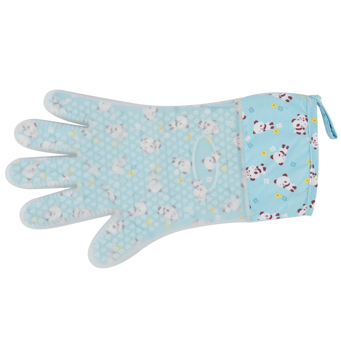 Silicone Panda Flower Pattern Kitchen Baking Heat Resistant Oven Mitt Glove Blue