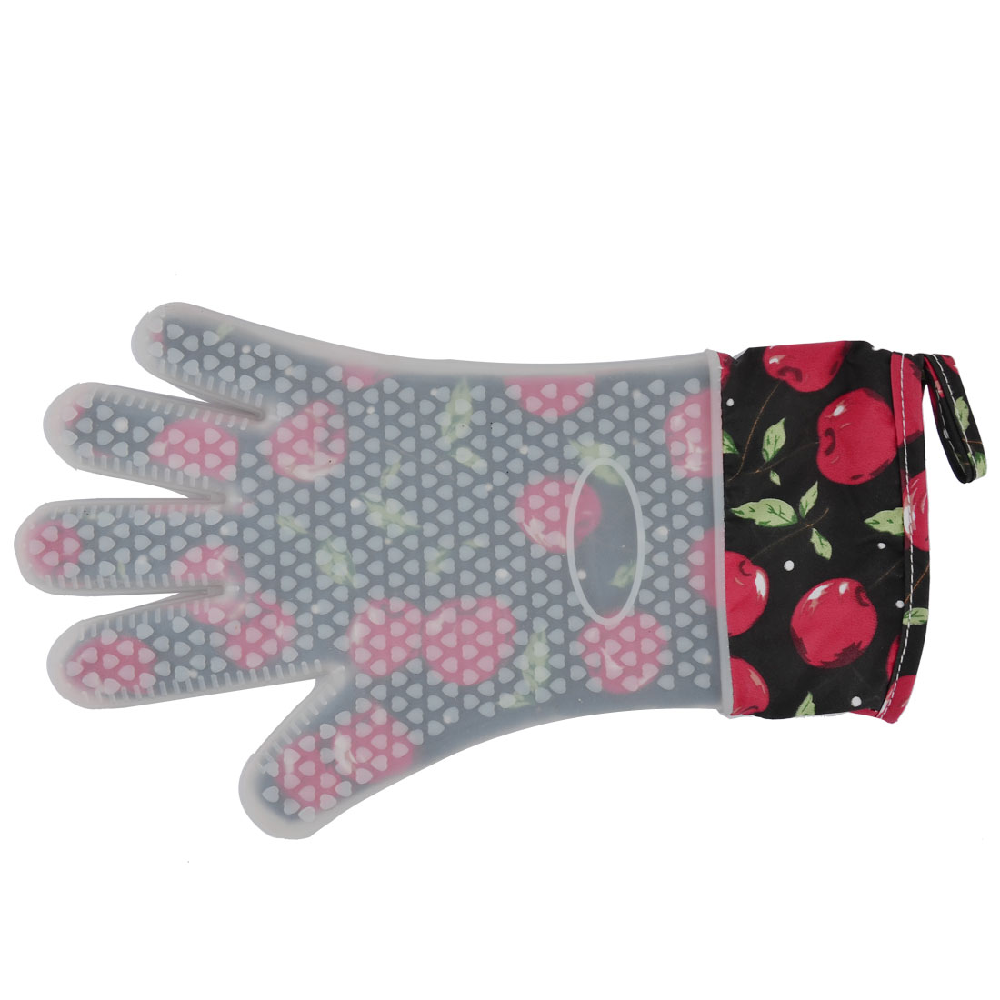 Silicone Cherry Pattern Cooking Baking Tool Heatproof Oven Mitt Glove Pad