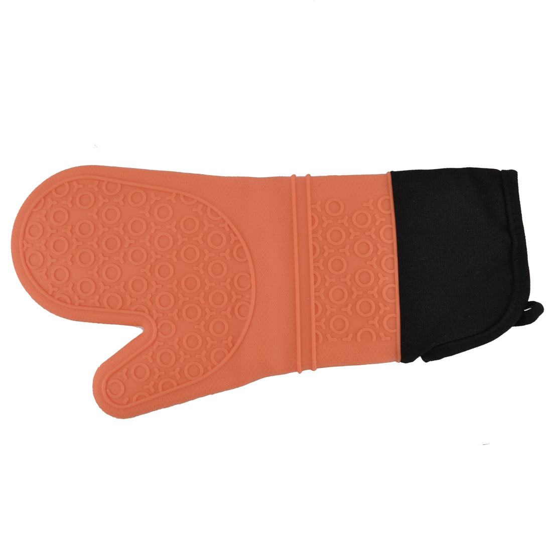 Silicone Kitchen Cooking Baking Heat Resistant Oven Mitt Glove Orange Black