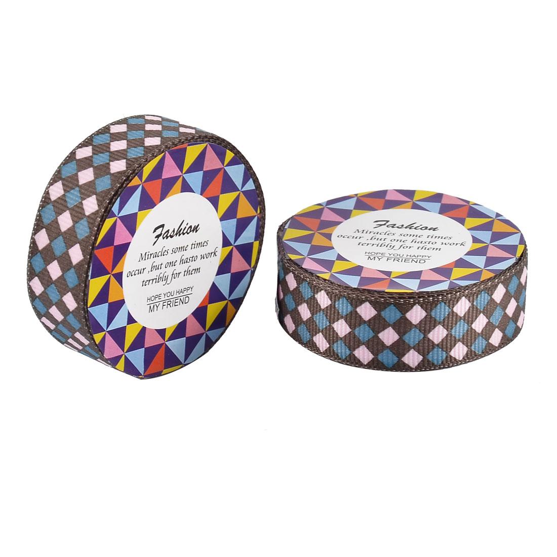 Home Nylon Rhombic Pattern Adhesive Photo Album Decorative Tape Pink Blue 2 Pcs