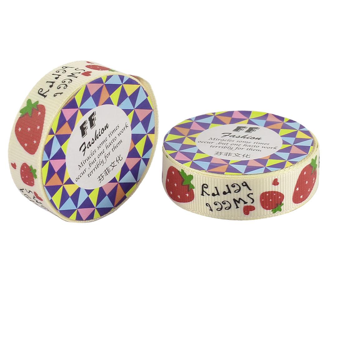 Home Nylon Strawberry Pattern Adhesive Photo Album Decorative Tape Red khaki 2 Pcs