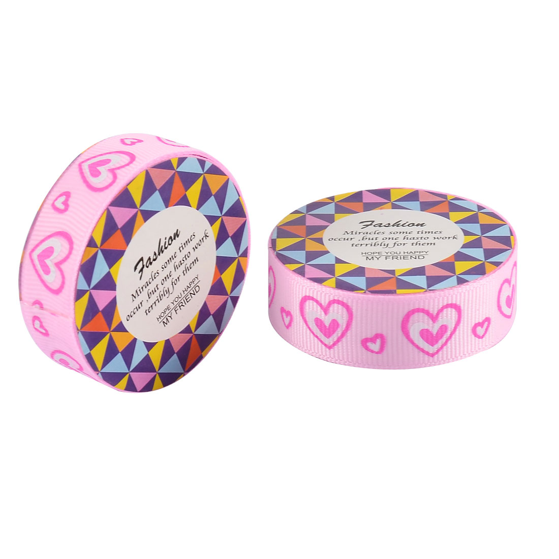 Home Nylon Heart Pattern Adhesive DIY Scrapbook Photo Album Decorative Tape Pink 2 Pcs