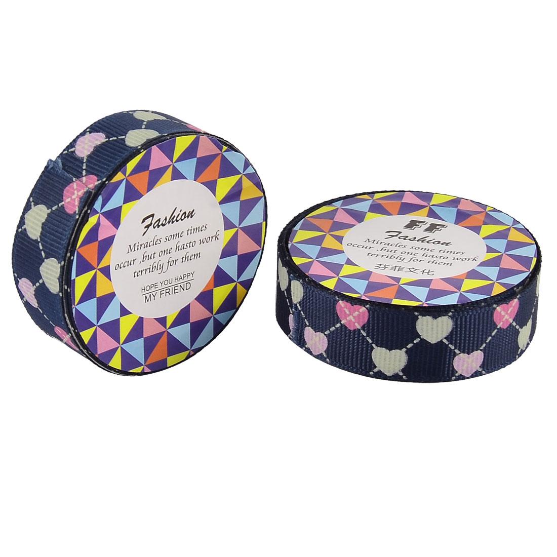 Home Nylon Heart Pattern Adhesive Scrapbook Photo Album Decorative Tape Dark Blue 2 Pcs