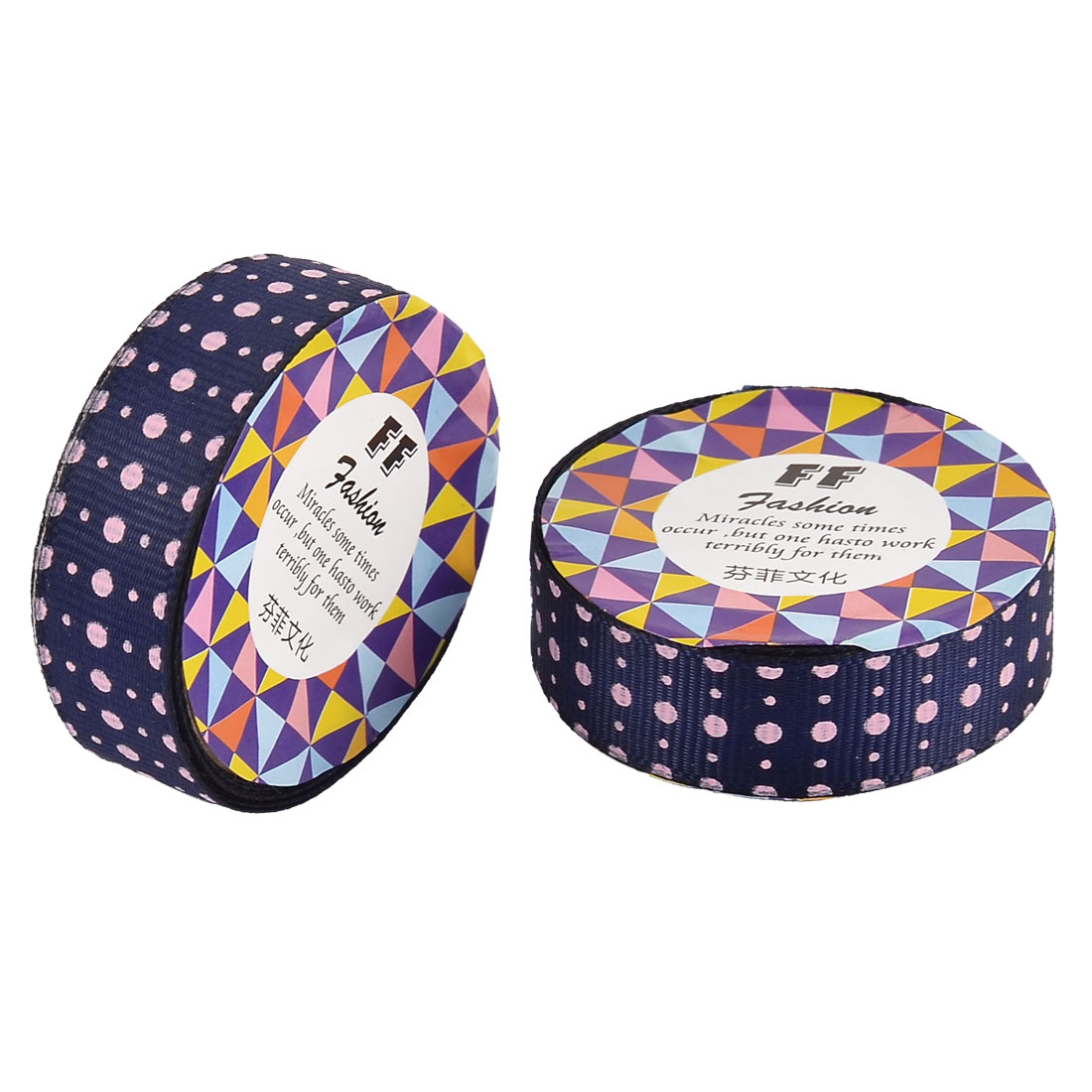 Home Nylon Dot Pattern Adhesive DIY Scrapbook Photo Album Decorative Tape Dark Blue 2 Pcs