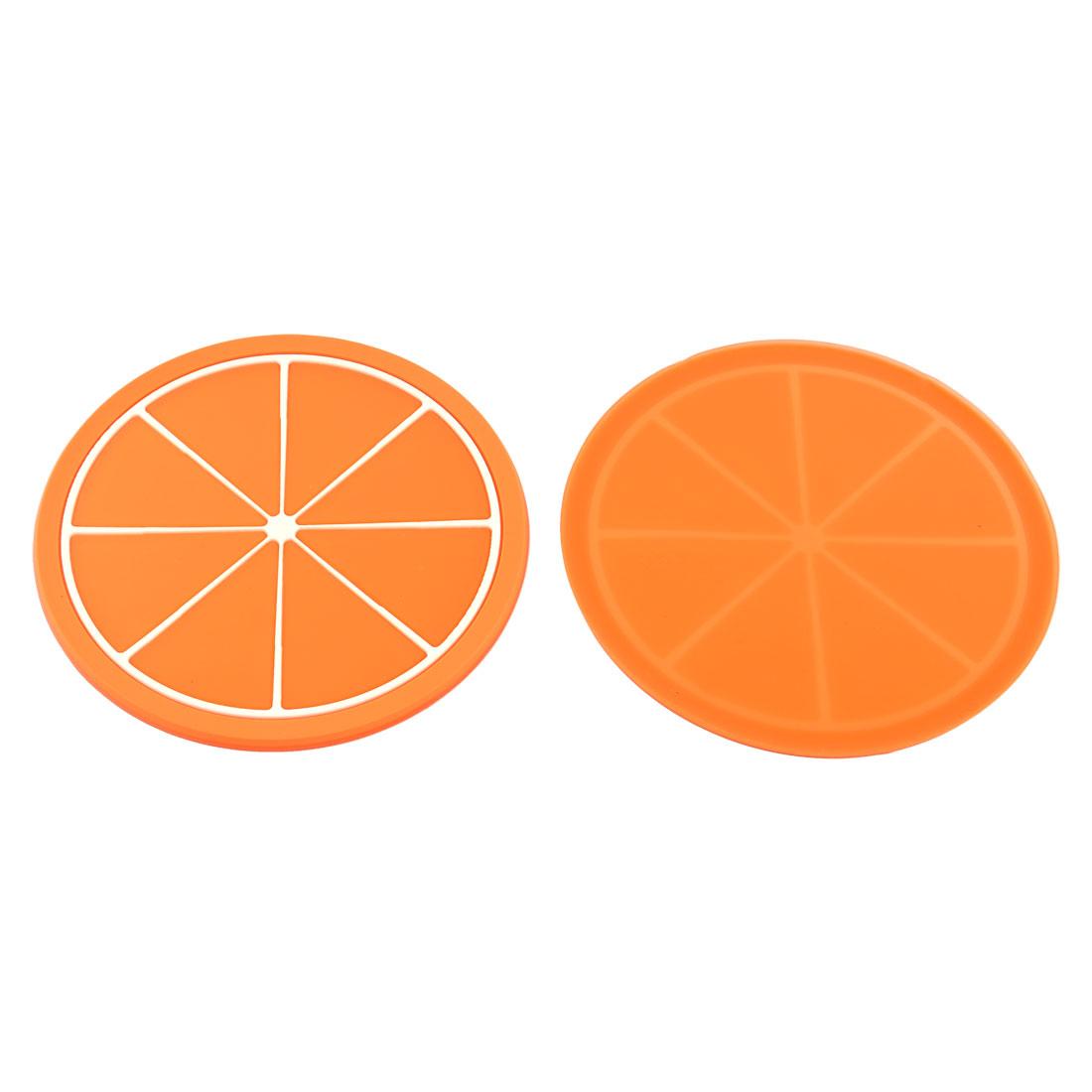 Household Silicone Orange Shaped Teapot Bottle Cup Coasters Mat Orange 2 Pcs