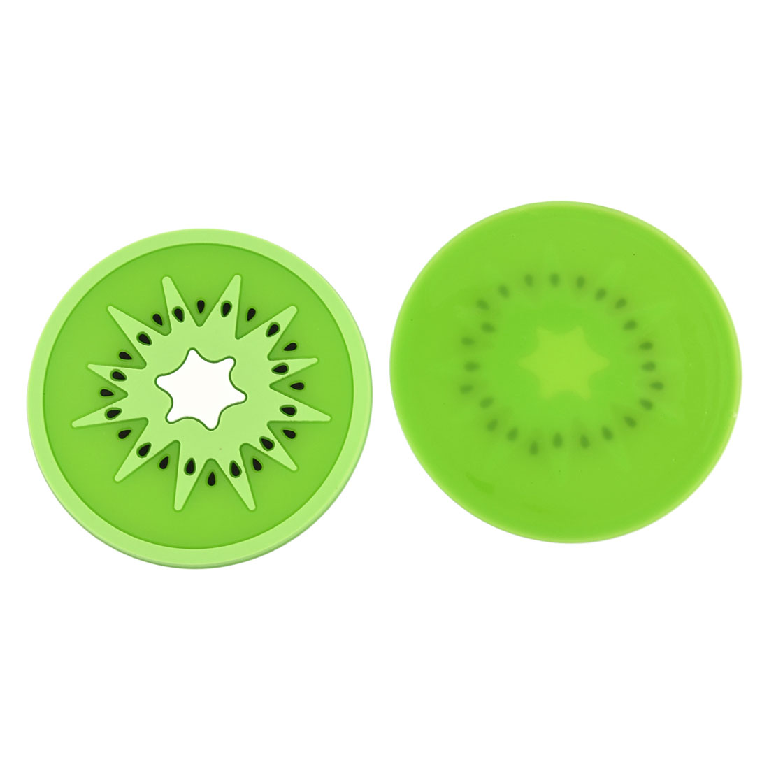 Household Silicone Kiwi Fruit Shaped Teapot Bottle Cup Coasters Mat Light Green 2 Pcs