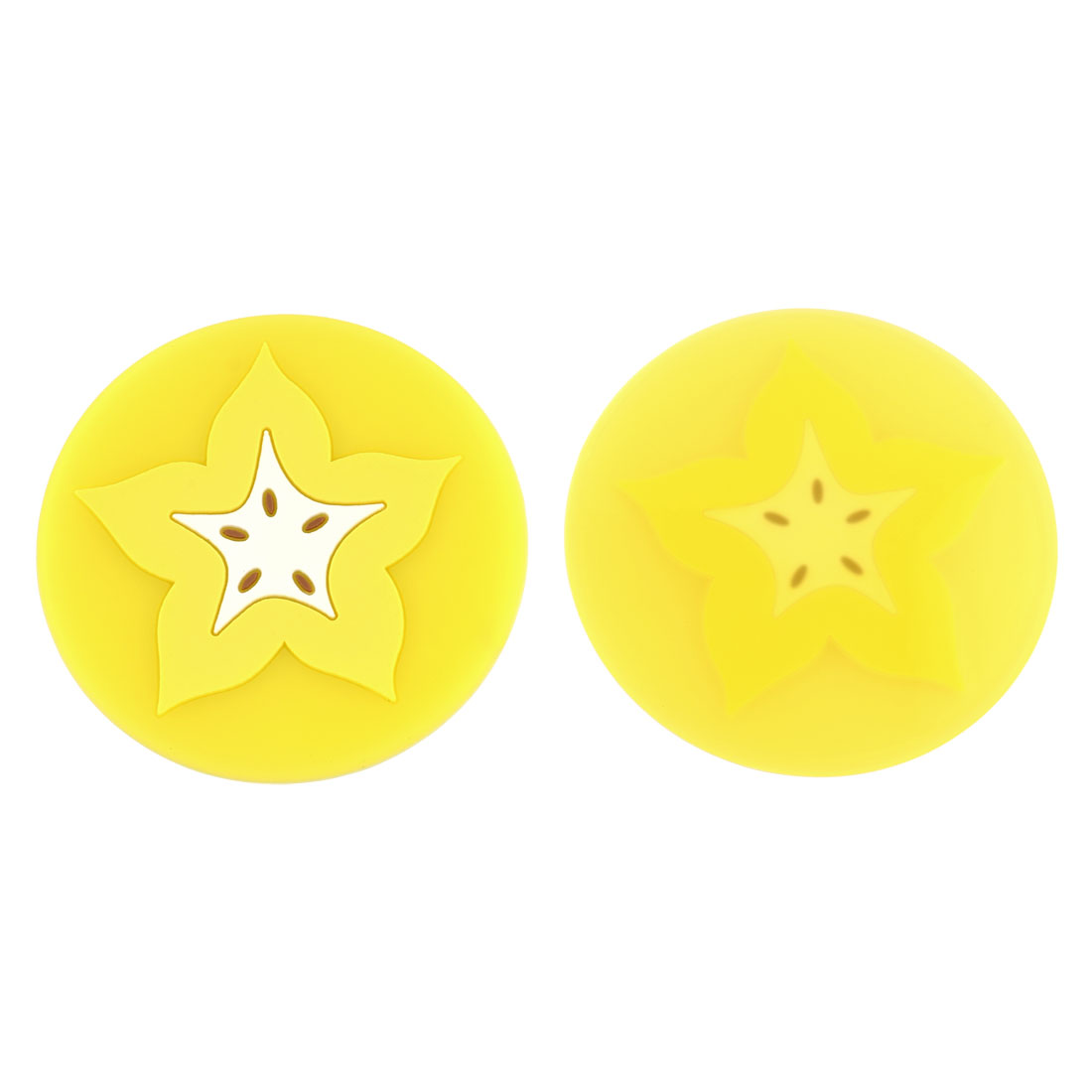 Household Silicone Fruit Shaped Teapot Bottle Cup Coasters Mat Yellow White 2 Pcs