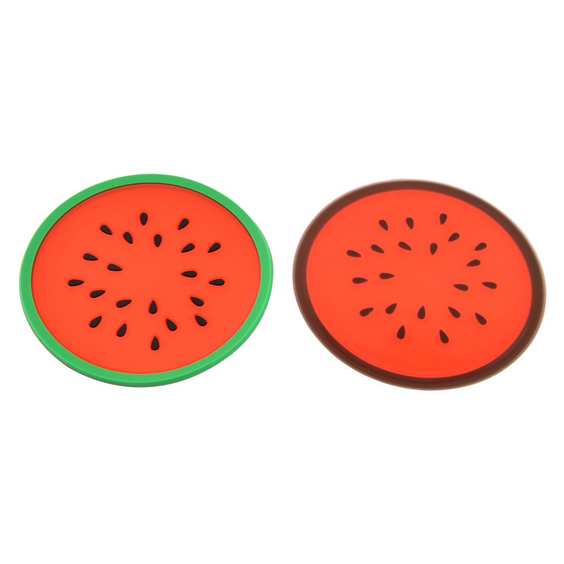 Household Silicone Watermelon Shaped Teapot Bottle Cup Coasters Mat Red Green 2 Pcs