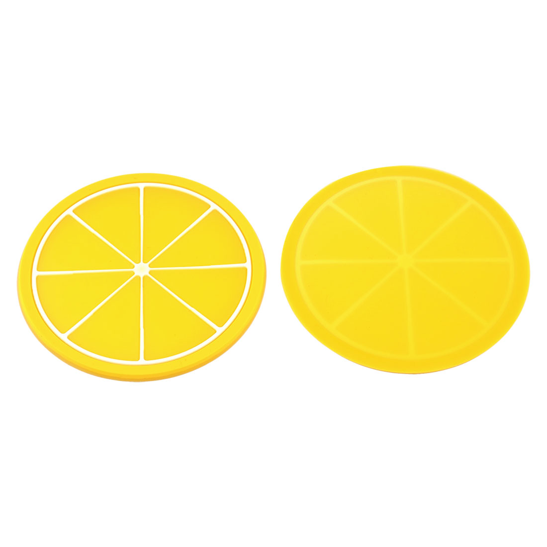 Household Silicone Lemon Shaped Teapot Bottle Cup Coasters Mat Yellow 2 Pcs