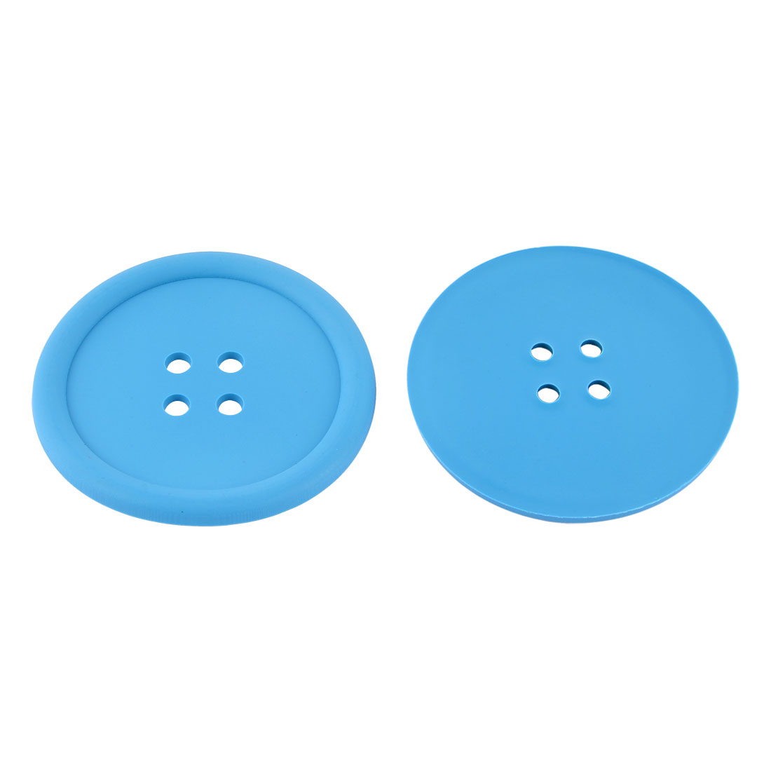 Household Silicone Coat Button Shaped Teapot Bottle Cup Coasters Mat Blue 2 Pcs